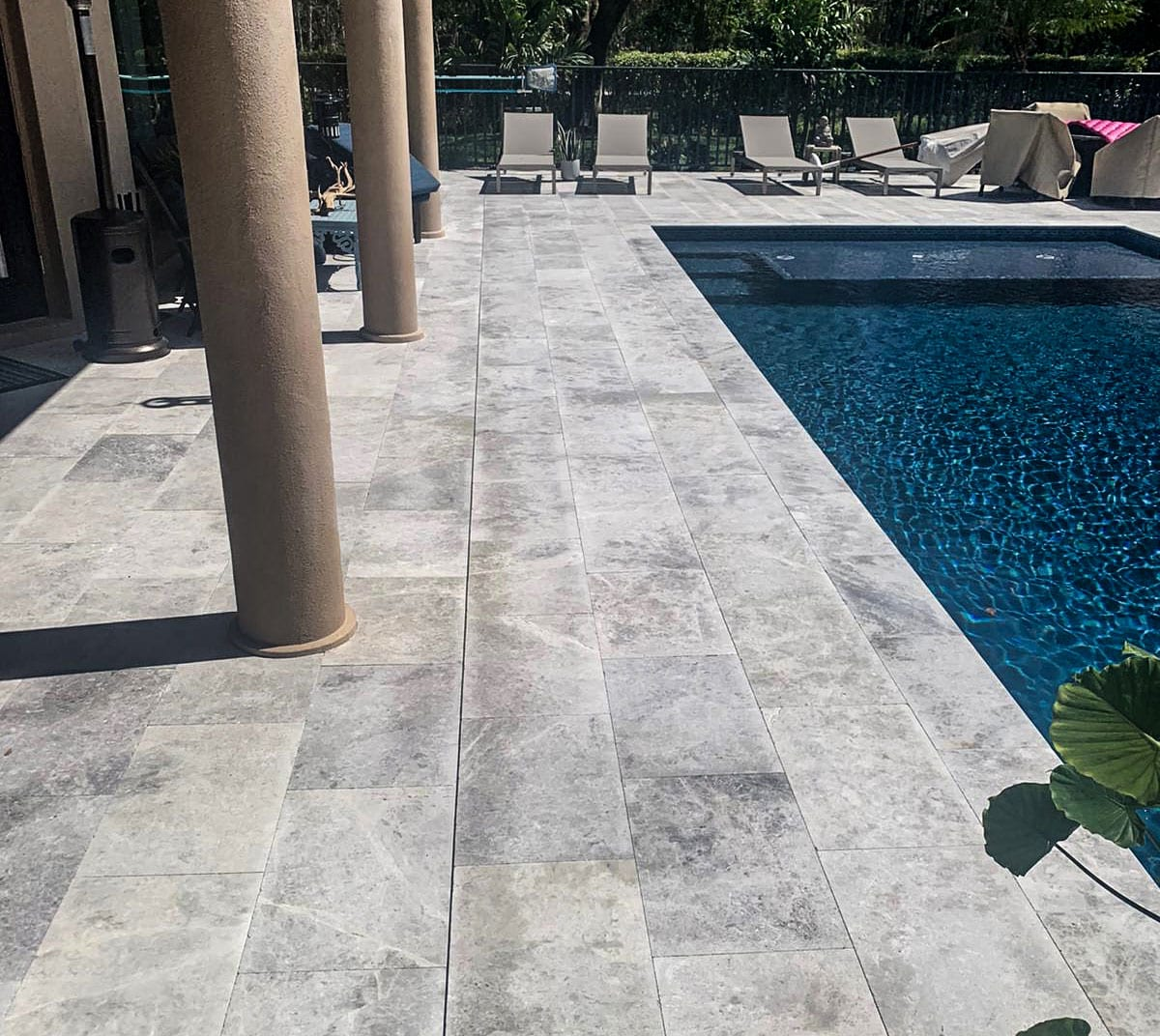 Stoneline-Group-Tundra-Grey-Marble-Collection-Marble-Leathered-Paver-French-Pattern-Pool-deck-walk-way-backyards-marble-design-Pictures