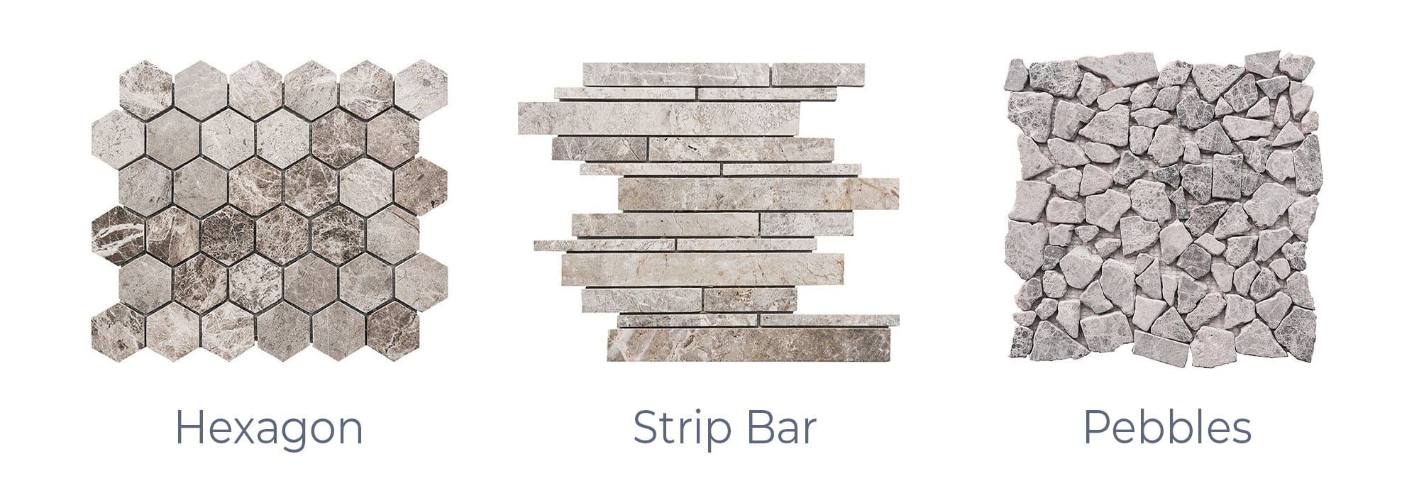 Stoneline-Group-Tundra-Grey-Travertine-Marble-Collection-Marble-Mosaic-Hexagon-Strip-Bar-Pebbles-Pictures