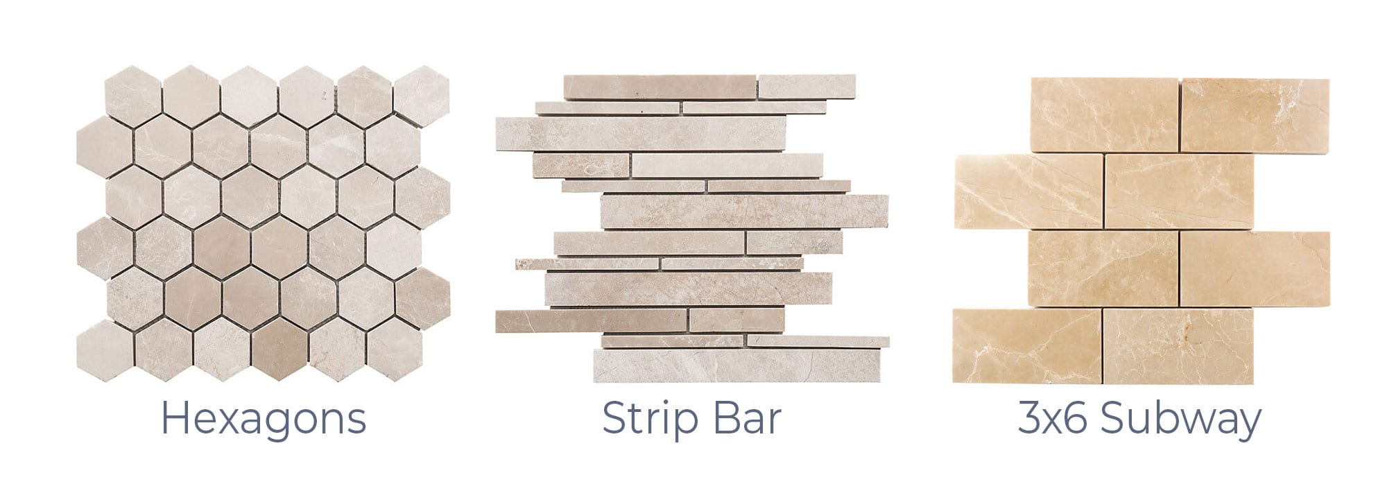 Stoneline-Group-Bianco-Ibiza-Marble-Collection-Marble-Mosaic-varieties-hexagons-Strip-Bar-3×6-Subway-Pictures