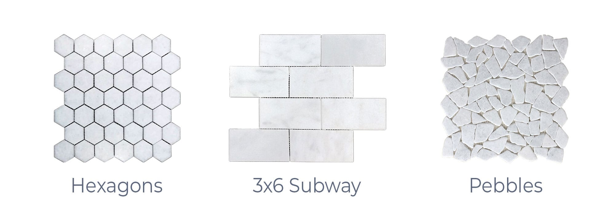Stoneline-Group-Bianco-Ibiza-Marble-Collection-Marble-Mosaic-varieties-hexagons-3×6-Subway-Pebbles-Pictures