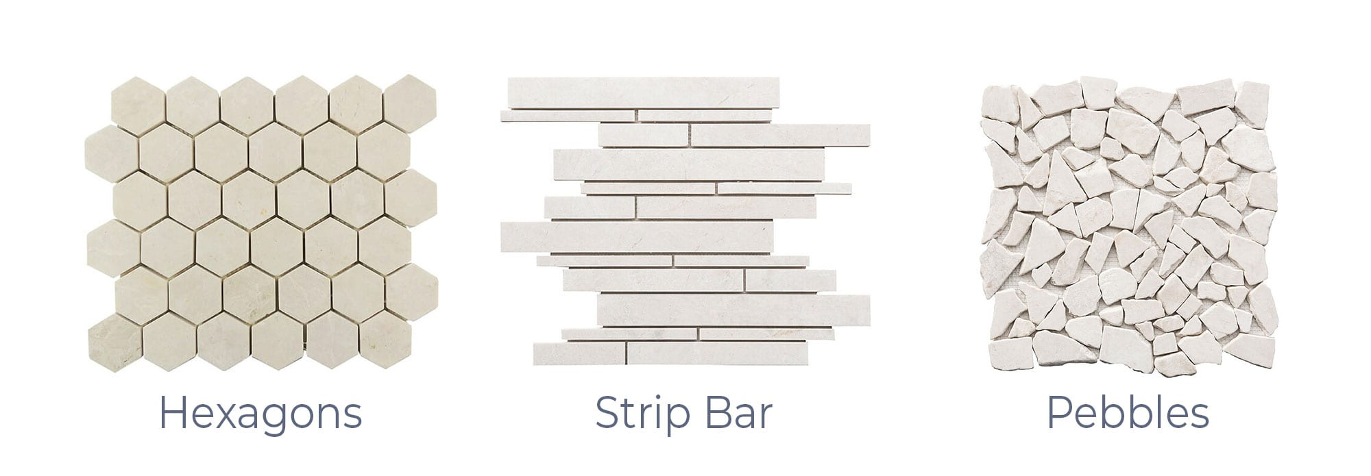 Stoneline-Group-French-Vanilla-Marble-Collection-Marble-Mosaic-Hexagons-Strip-Bars-Pebbles-Pictures-d