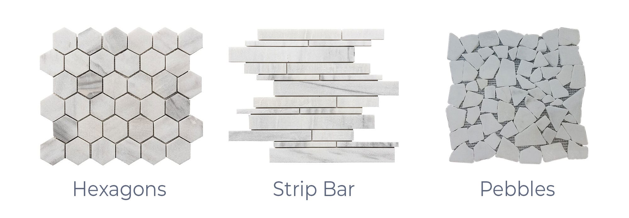 Stoneline-Group-Ice-White-Marble-Collection-Marble-Mosaics-Hexagons-Strip-Bars-Pebbles-Pictures-d