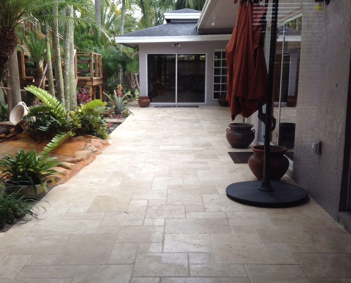 Stoneline-Group-Ivory-Marble-Collection-Marble-Tile-French-Pattern-Brushed-Chiseled-Tumbled-Walkway-Pictures