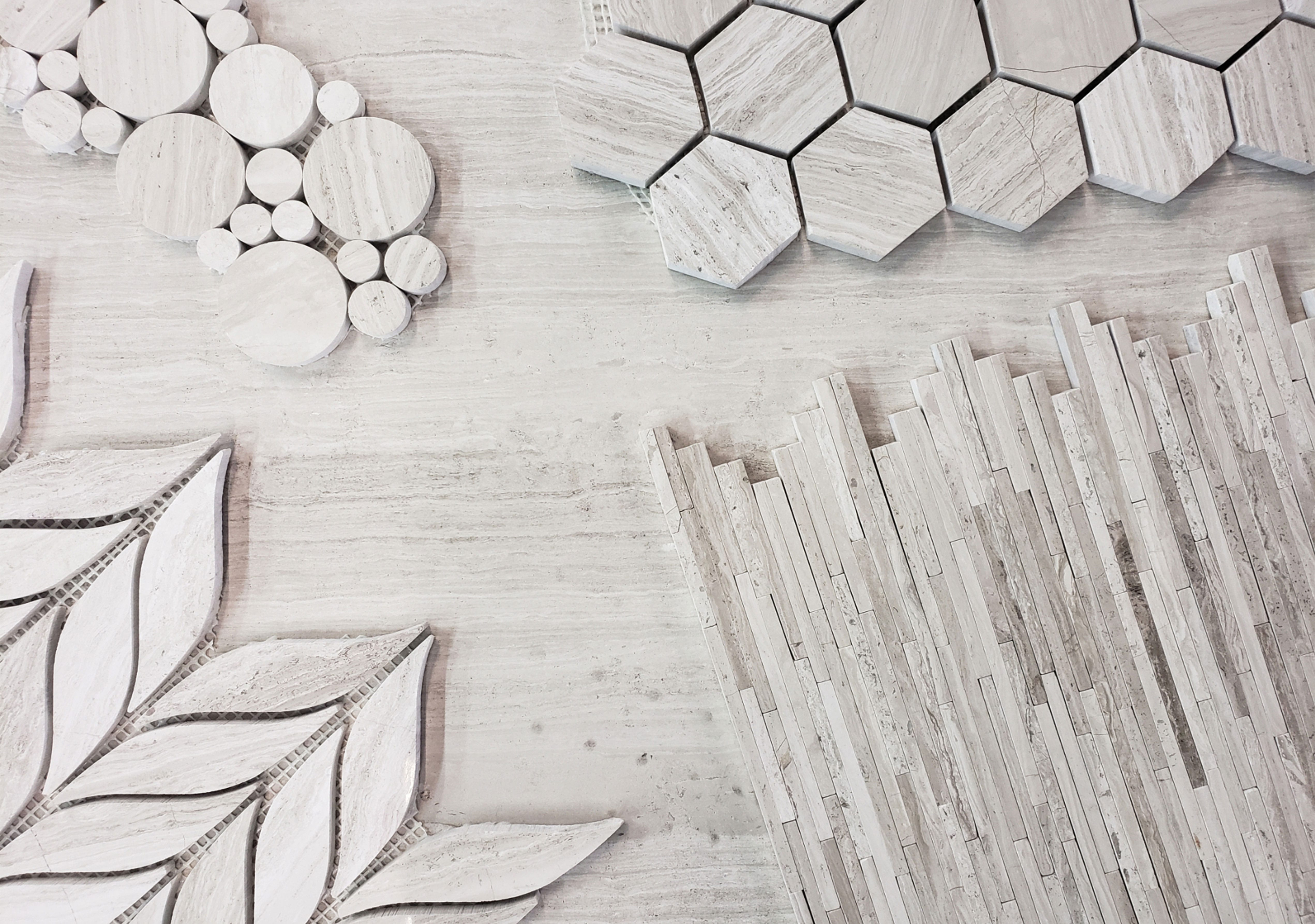 Stoneline-Group-White-Wood-Marble-Collection-Marble-Mosaic-varieties-Bubble-Strip-Bar-Bamboo-Marble-Mosaic-Design-Pictures
